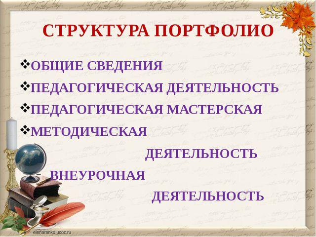 СТРУКТУРА ПОРТФОЛИО ОБЩИЕ СВЕДЕНИЯ ПЕДАГОГИЧЕСКАЯ ДЕЯТЕЛЬНОСТЬ ПЕДАГОГИЧЕСКАЯ...