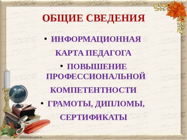 ОБЩИЕ СВЕДЕНИЯ ИНФОРМАЦИОННАЯ КАРТА ПЕДАГОГА ПОВЫШЕНИЕ ПРОФЕССИОНАЛЬНОЙ КОМПЕ...