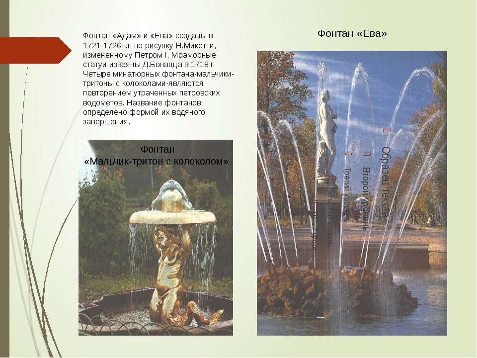 Фонтан «Адам» и «Ева» созданы в 1721-1726 г.г. по рисунку Н.Микетти, измененн...