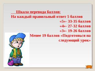 Шкала перевода баллов: На каждый правильный ответ 5 баллов «5»- 33-35 баллов