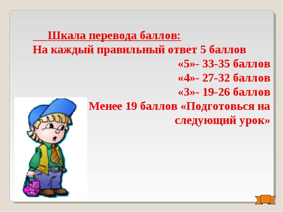 Шкала перевода баллов: На каждый правильный ответ 5 баллов «5»- 33-35 баллов...