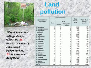 Illegal town and village dumps There are 16 dumps in country settlement Niko