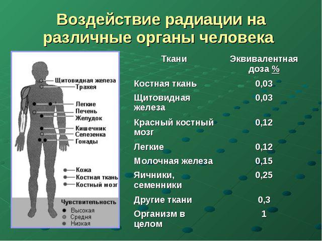 Воздействие радиации на различные органы человека