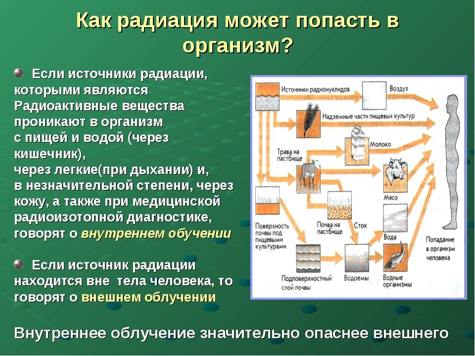 Как радиация может попасть в организм? Если источники радиации, которыми явля...