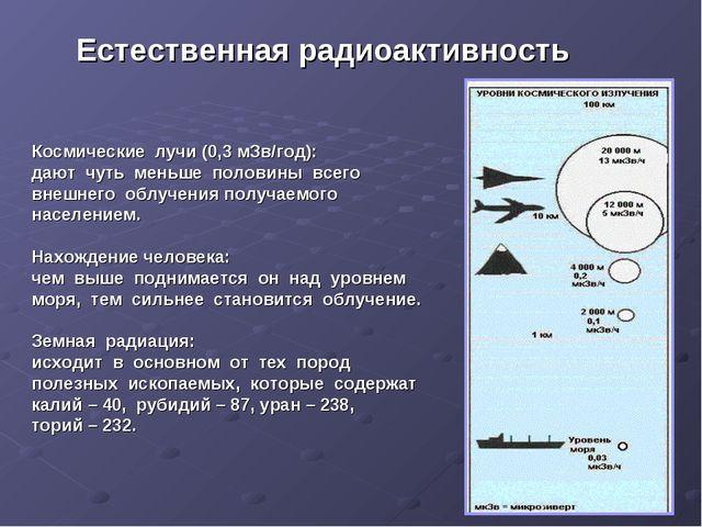 Естественная радиоактивность Космические лучи (0,3 мЗв/год): дают чуть меньш...