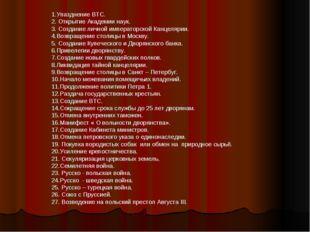 1.Упазднение ВТС. 2. Открытие Академии наук. 3. Создание личной императорской