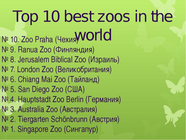 Top 10 best zoos in the world № 10. Zoo Praha (Чехия) № 9. Ranua Zoo (Финлянд...