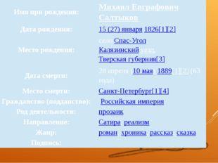 Имя при рождении: МихаилЕвграфовичСалтыков Дата рождения: 15 (27) января1826