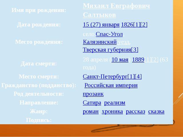 Имя при рождении: МихаилЕвграфовичСалтыков Дата рождения: 15 (27) января1826...