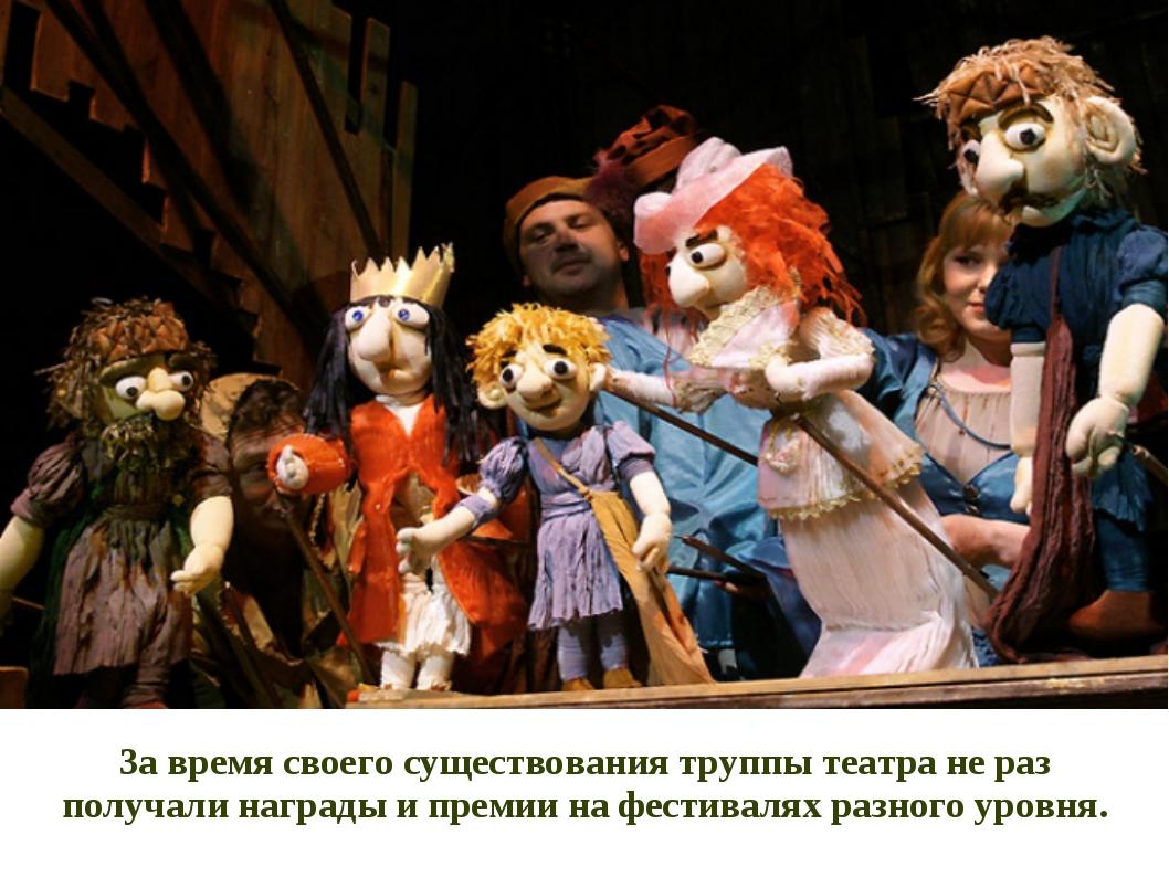 За время своего существования труппы театра не раз получали награды и премии...
