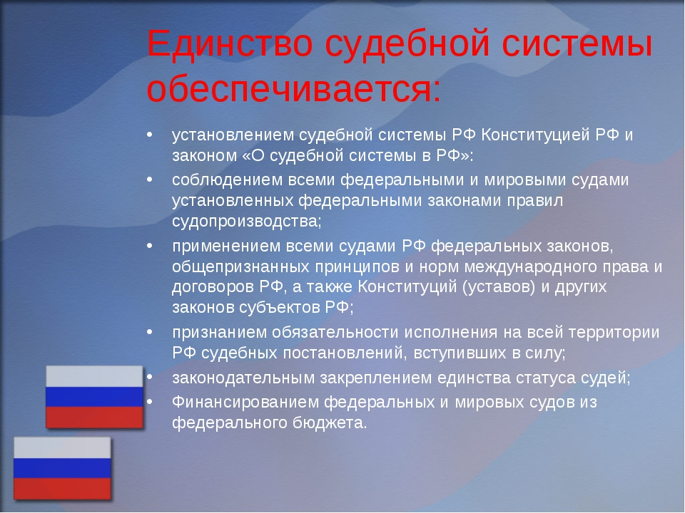 Единство судебной системы обеспечивается: установлением судебной системы РФ К...