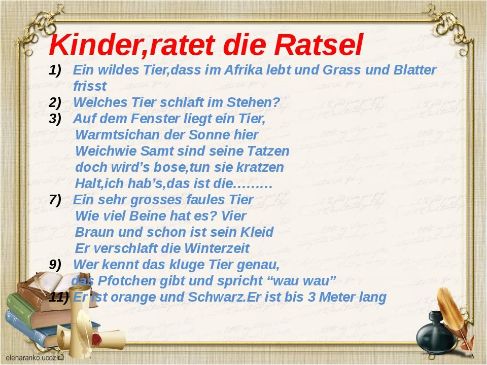 Kinder,ratet die Ratsel Ein wildes Tier,dass im Afrika lebt und Grass und Bla...