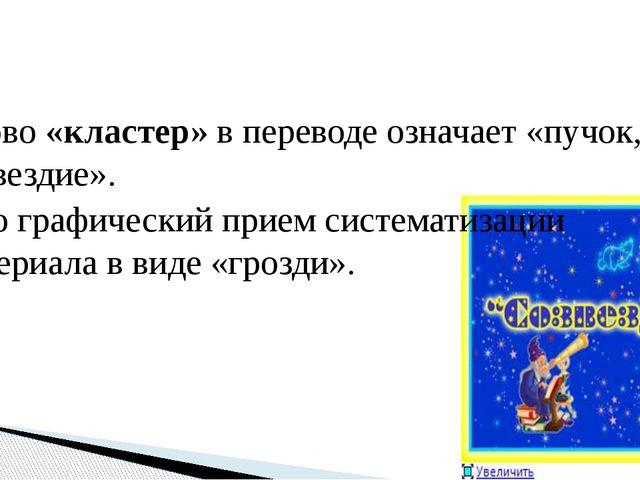 Слово «кластер» в переводе означает «пучок, созвездие». Это графический прием...