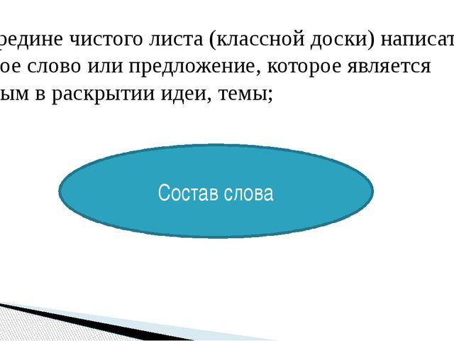 1. посередине чистого листа (классной доски) написать ключевое слово или пред...