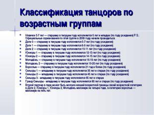 Классификация танцоров по возрастным группам Новички 5-7 лет— старшему в тек