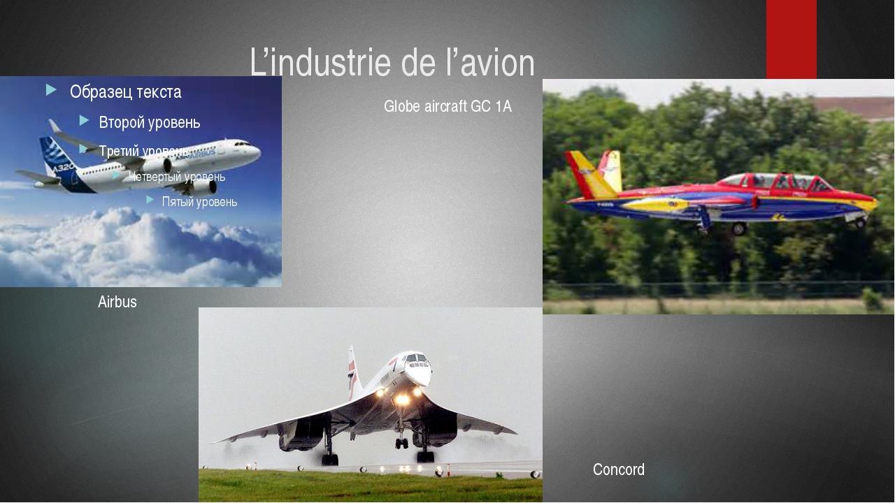 L'industrie de l'avion Airbus Globe aircraft GC 1A Concord