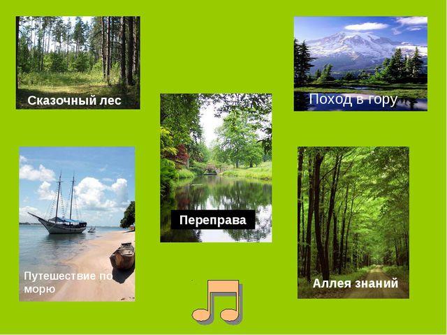 Сказочный лес Поход в гору Аллея знаний Путешествие по морю Переправа