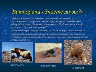 Викторина «Знаете ли вы?» Научное название этого хищника переводится с латыни