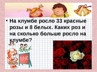 На клумбе росло 33 красные розы и 8 белых. Каких роз и на сколько больше рос