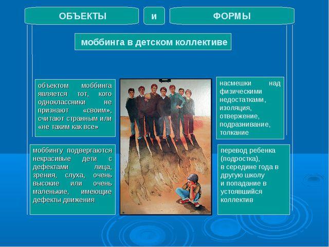моббинга в детском коллективе ОБЪЕКТЫ ФОРМЫ и объектом моббинга является тот...