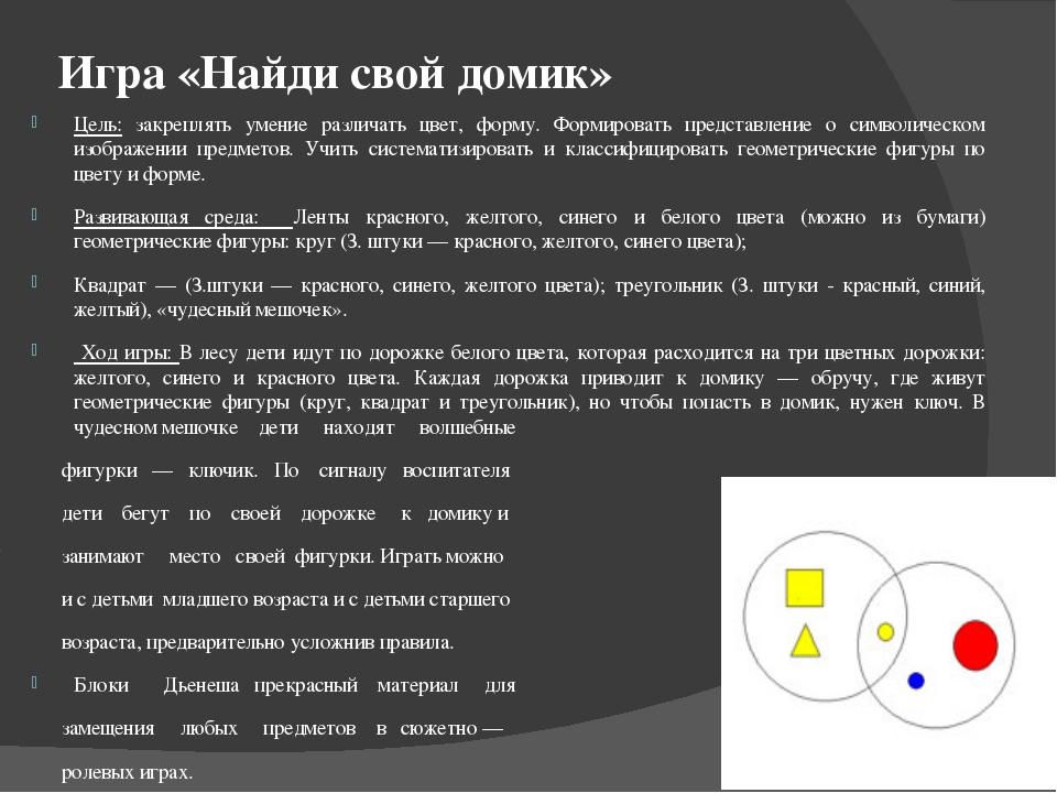 Игра «Найди свой домик» Цель: закреплять умение различать цвет, форму. Формир...
