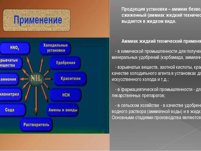Продукция установки – аммиак безводный сжиженный (аммиак жидкий технический),...