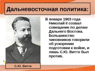 * Антоненкова А.В. МОУ Будинская ООШ * В январе 1903 года Николай II созвал с