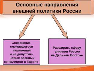 * Антоненкова А.В. МОУ Будинская ООШ * Основные направления внешней политики