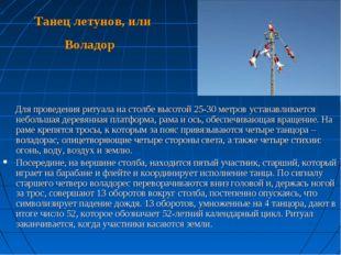 Танец летунов, или Воладор Для проведения ритуала на столбе высотой 25-30 мет