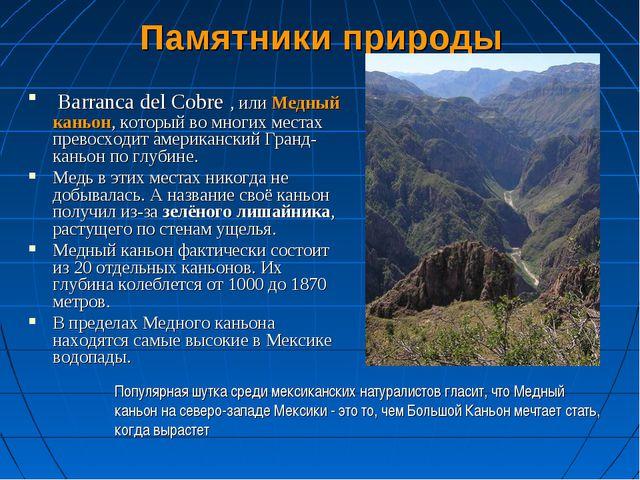 Памятники природы Barranca del Cobre , или Медный каньон, который во многих м...