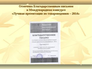 Отмечена Благодарственным письмом в Международном конкурсе «Лучшая презентаци