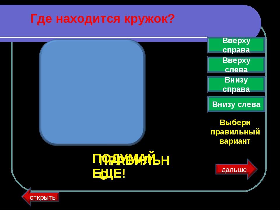 Где находится кружок? Вверху справа Вверху слева Внизу справа Внизу слева Выб...