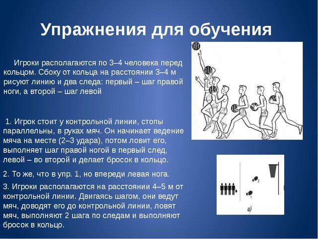 Упражнения для обучения Игроки располагаются по 3–4 человека перед кольцом. С...