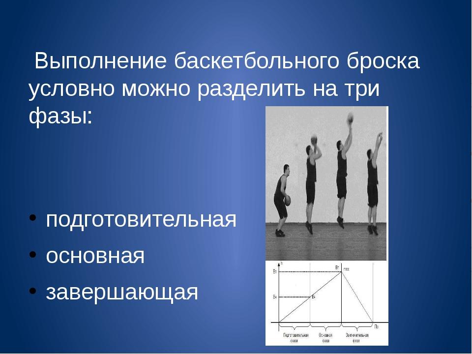 Выполнение баскетбольного броска условно можно разделить на три фазы: подгот...