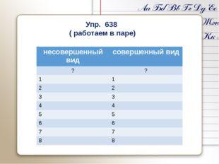 Упр. 638 ( работаем в паре) несовершенный вид совершенный вид ? ? 1 1 2 2 3