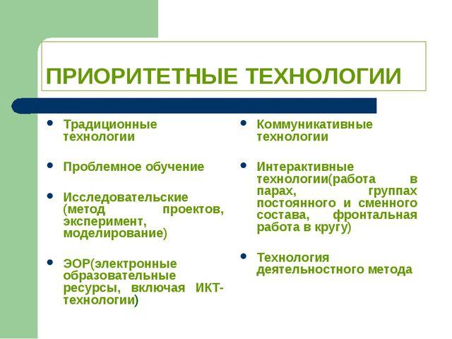 ПРИОРИТЕТНЫЕ ТЕХНОЛОГИИ Традиционные технологии Проблемное обучение Исследова...