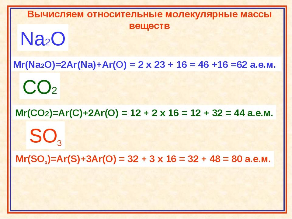 Na2O Mr(Na2O)=2Ar(Na)+Ar(O) = 2 x 23 + 16 = 46 +16 =62 а.е.м. CO2 Mr(CO2)=Ar(...