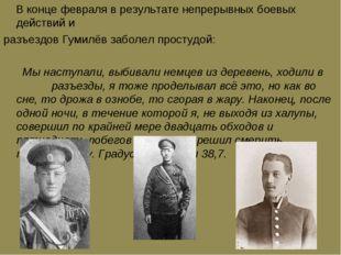 В конце февраля в результате непрерывных боевых действий и разъездов Гумилёв