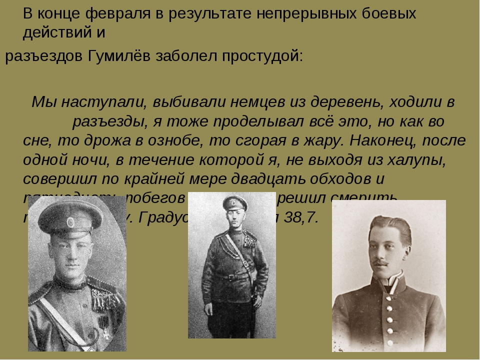 В конце февраля в результате непрерывных боевых действий и разъездов Гумилёв...