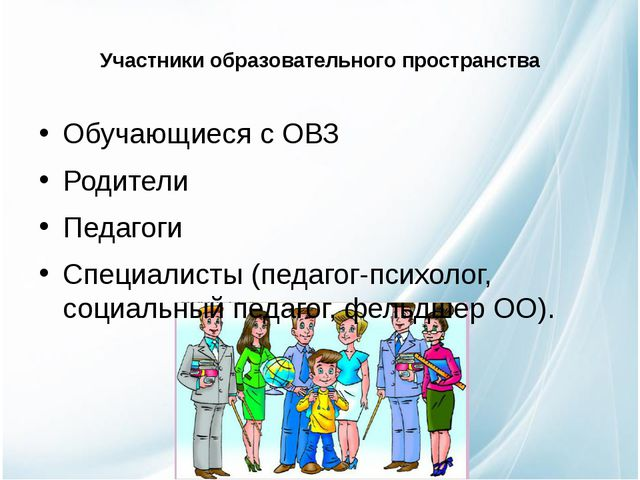 Участники образовательного пространства Обучающиеся с ОВЗ Родители Педагоги С...