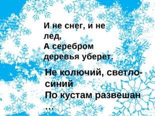 И не снег, и не лед, А серебром деревья уберет. Не колючий, светло-синий По к