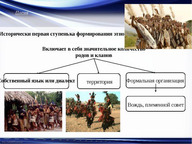 Племя Исторически первая ступенька формирования этноса. Включает в себя значи...