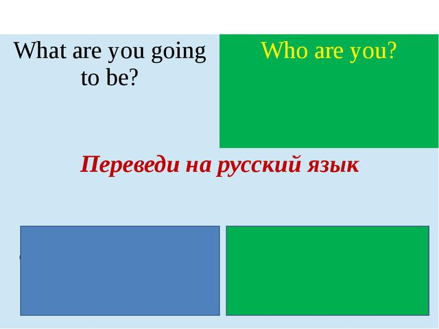 Whatare you going to be? Who are you? Переведи на русский язык Кемты собирае...
