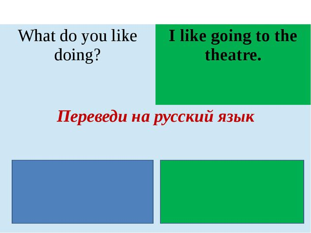 Whatdo you like doing? I like going to the theatre. Переведи на русский язык...