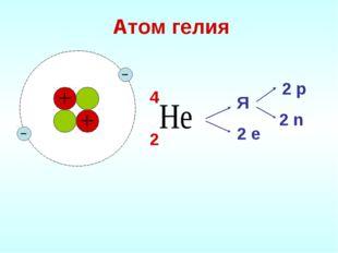 Атом гелия Я 2 е 2 р 2 n 2 4