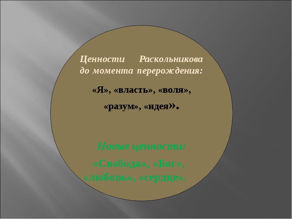 Ценности Раскольникова до момента перерождения: «Я», «власть», «воля», «разум...