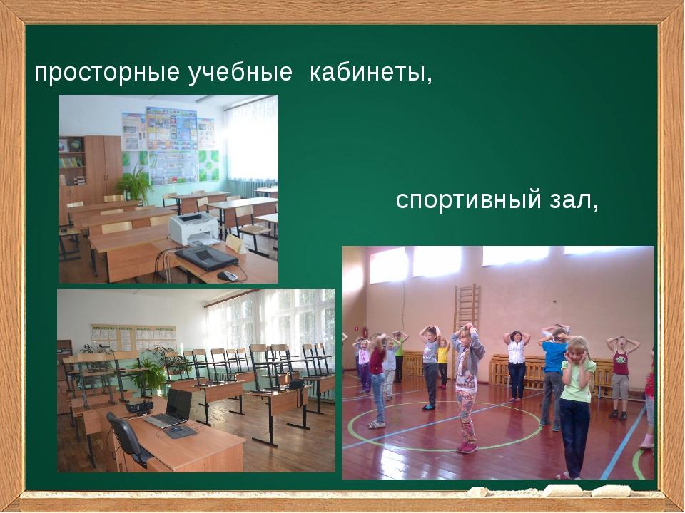 просторные учебные кабинеты, спортивный зал,
