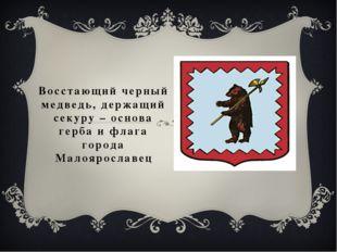 Восстающий черный медведь, держащий секуру – основа герба и флага города Мало