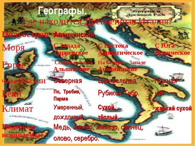 Географы. Где находится Древнейшая Италия? ПолуостровАпеннинский  МоряС З...