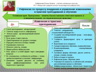 Байжанова Елена Леовна - учитель начальных классов КГУ «Якорьская средняя шко